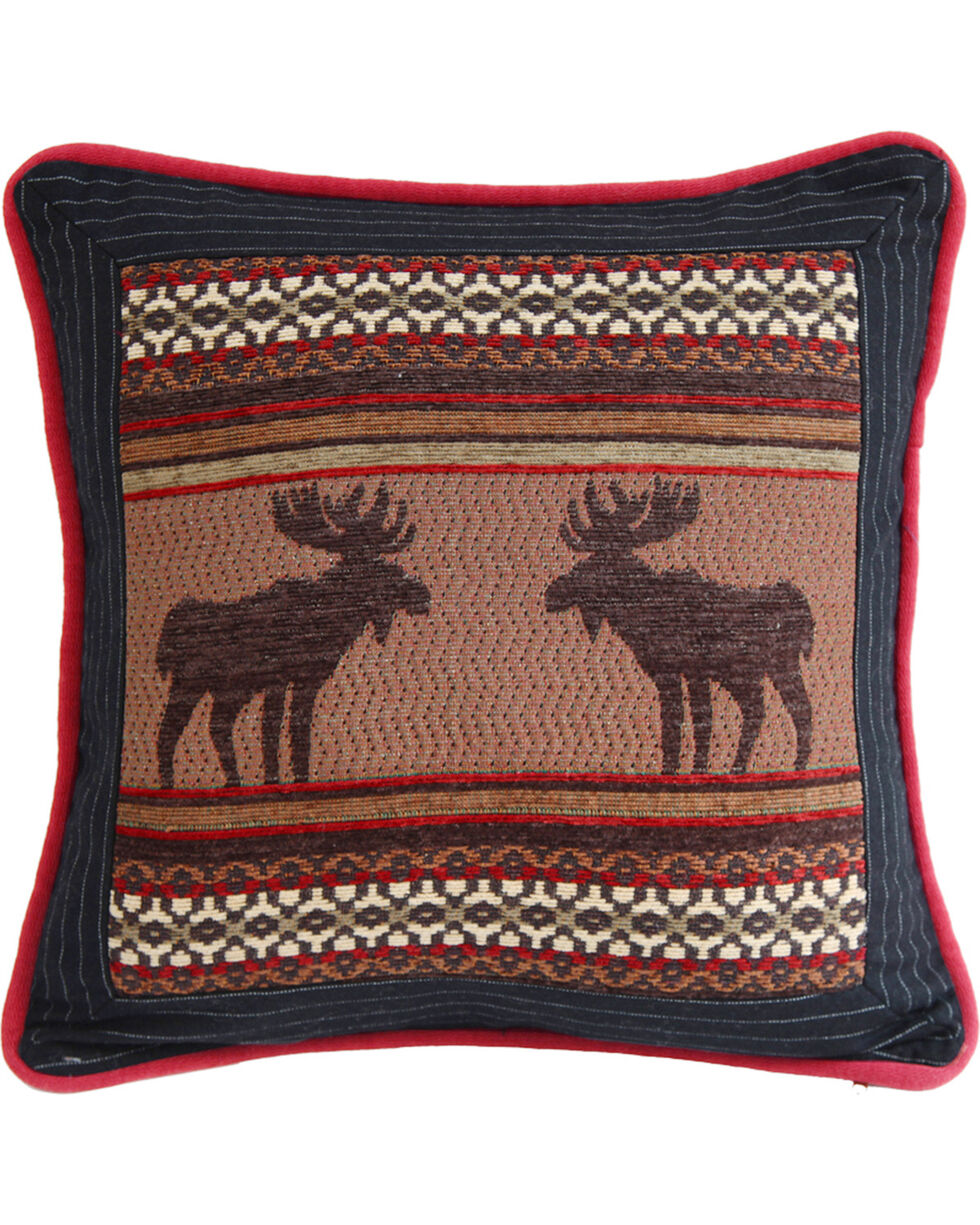 HiEnd Accents Bayfield Square Moose Pillow, Multi, hi-res