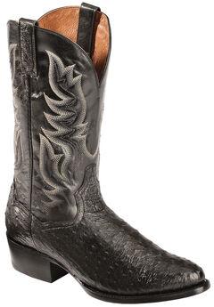 Dan Post Black Quilled Ostrich Cowboy Boots - Round Toe, , hi-res