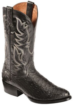 Dan Post Black Quilled Ostrich Cowboy Boots - Round Toe, Black, hi-res