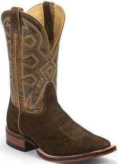 Nocona Brown Hippo Print Let's Rodeo Cowboy Boots - Square Toe , , hi-res