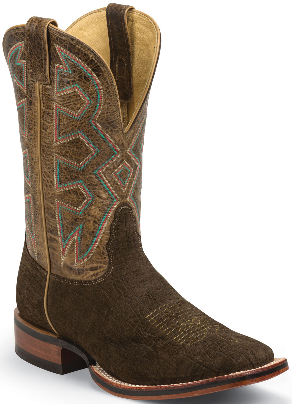 Nocona Brown Hippo Print Let's Rodeo Cowboy Boots - Square Toe , Brown, hi-res
