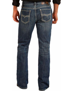 Rock & Roll Cowboy Men's Blue Bean Stitch Double Barrel Jeans - Boot Cut , Blue, hi-res