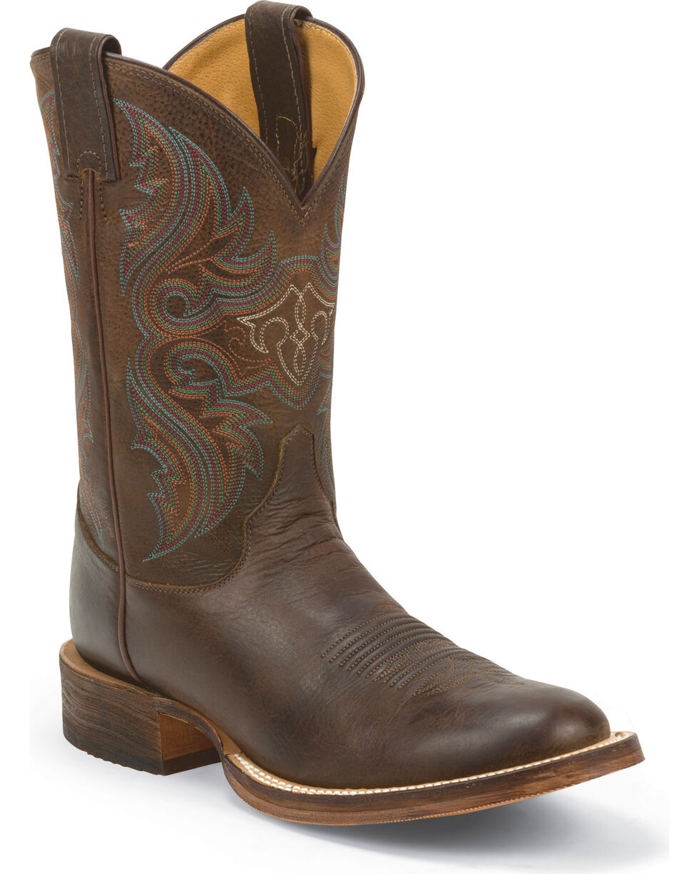 Justin Men's Lahoma Bent Rail Cowboy Boots - Round Toe, Chocolate, hi-res