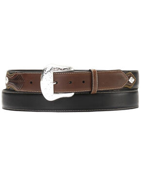 Nocona Top Hand Lace Billet Diamond Concho Belt - Large, Black, hi-res