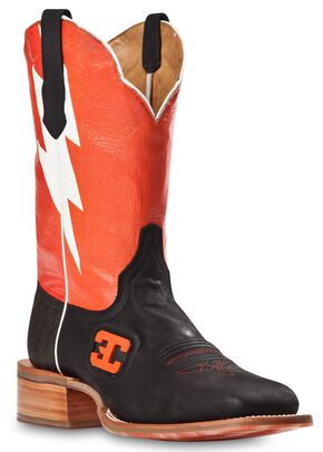 Cinch Edge Bolt Cowboy Boots - Square Toe, Black, hi-res