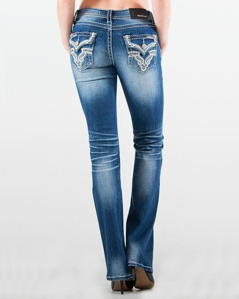 Grace in LA Women's Embellished Flap Pocket Jeans - Boot Cut, Indigo, hi-res