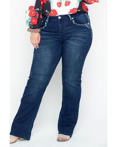 Grace in LA Women's Embroidered Easy Boot Cut Jeans - Plus, Indigo, hi-res