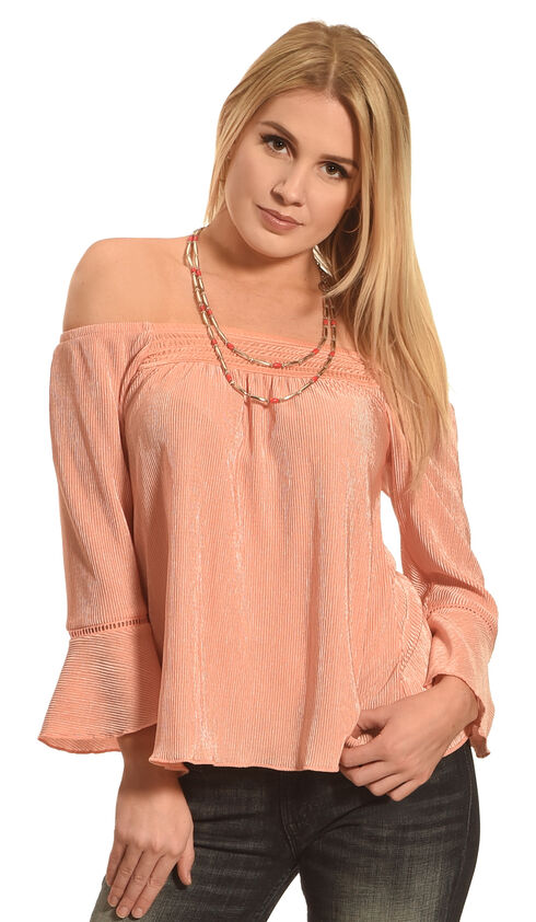Derek Heart Women's Coral Smocked Off Shoulder 3/4 Cuff Sleeve Shirt , Coral, hi-res