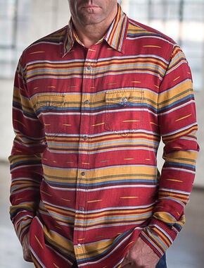 Ryan Michael Men's Brick Serape Western Shirt, Red, hi-res