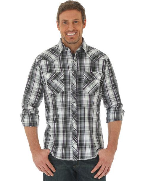 Wrangler Men's Black Western Fashion Snap Long Sleeve Plaid Shirt , Black, hi-res