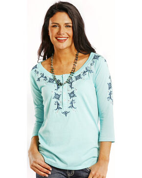 Panhandle Slim Women's Ocean Blue Embroidered Henley Top, Aqua, hi-res