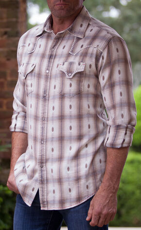 Ryan Michael Men's Black Ombre Plaid #7 Shirt , Black, hi-res