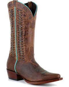 Shyanne Women's Mad Dog Bone Lacing Boots - Snip Toe , Brown, hi-res