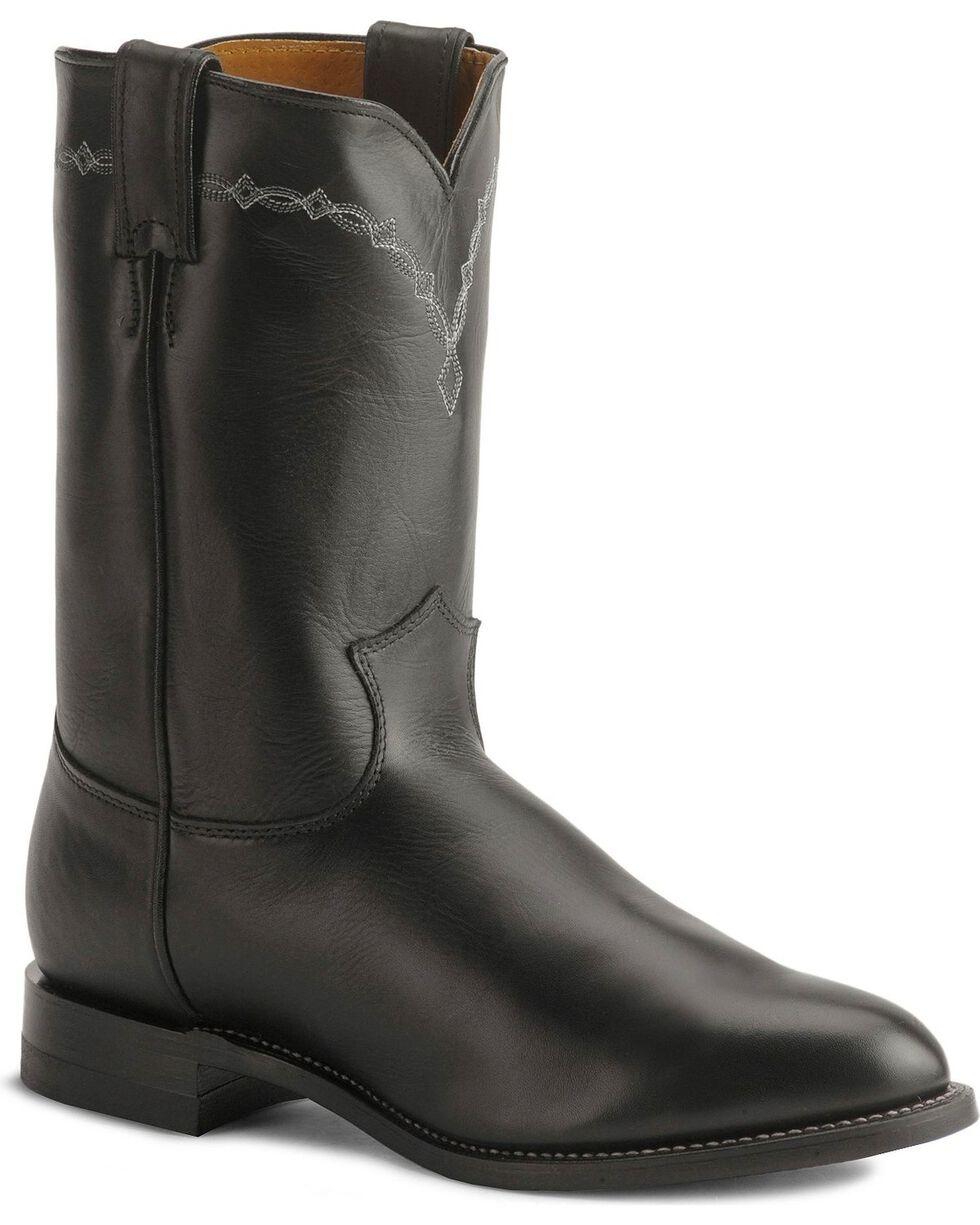 Justin Black Classic Roper Boots - Round Toe, Black, hi-res