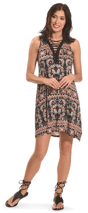 Jody of California Women's Lace Up Front Dress , Black, hi-res
