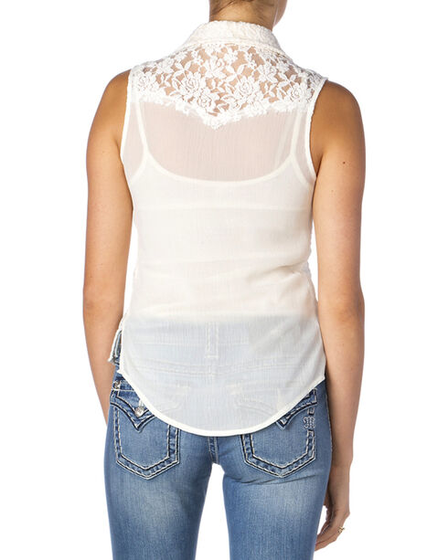 Miss Me Women's Lace Button-Down Sleeveless Shirt, Off White, hi-res