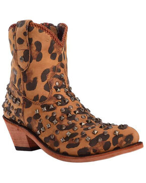 Liberty Black Women's Cheetah Fiona Studded Zipper Booties - Pointed Toe , Cheetah, hi-res