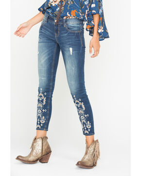 Miss Me Women's Indigo Embroidered Ankle Jeans - Skinny , Indigo, hi-res