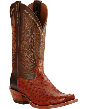 Ariat Brandy Super Stakes Full Quill Ostrich Cowboy Boots - Square Toe, Brandy, hi-res