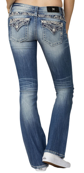 Miss Me Women's Indigo Embroidered Pocket Jeans - Boot Cut , Indigo, hi-res