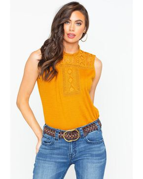 Eyeshadow Women's Textured Sleeveless Crochet Yoke Top , Dark Yellow, hi-res