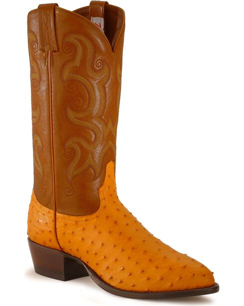 Tony Lama Full Quill Ostrich Western Boots - Medium Toe, Suntan, hi-res