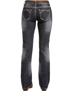 Rock & Roll Cowgirl Women's Mid Rise Simple Pocket Jeans - Boot Cut , Indigo, hi-res