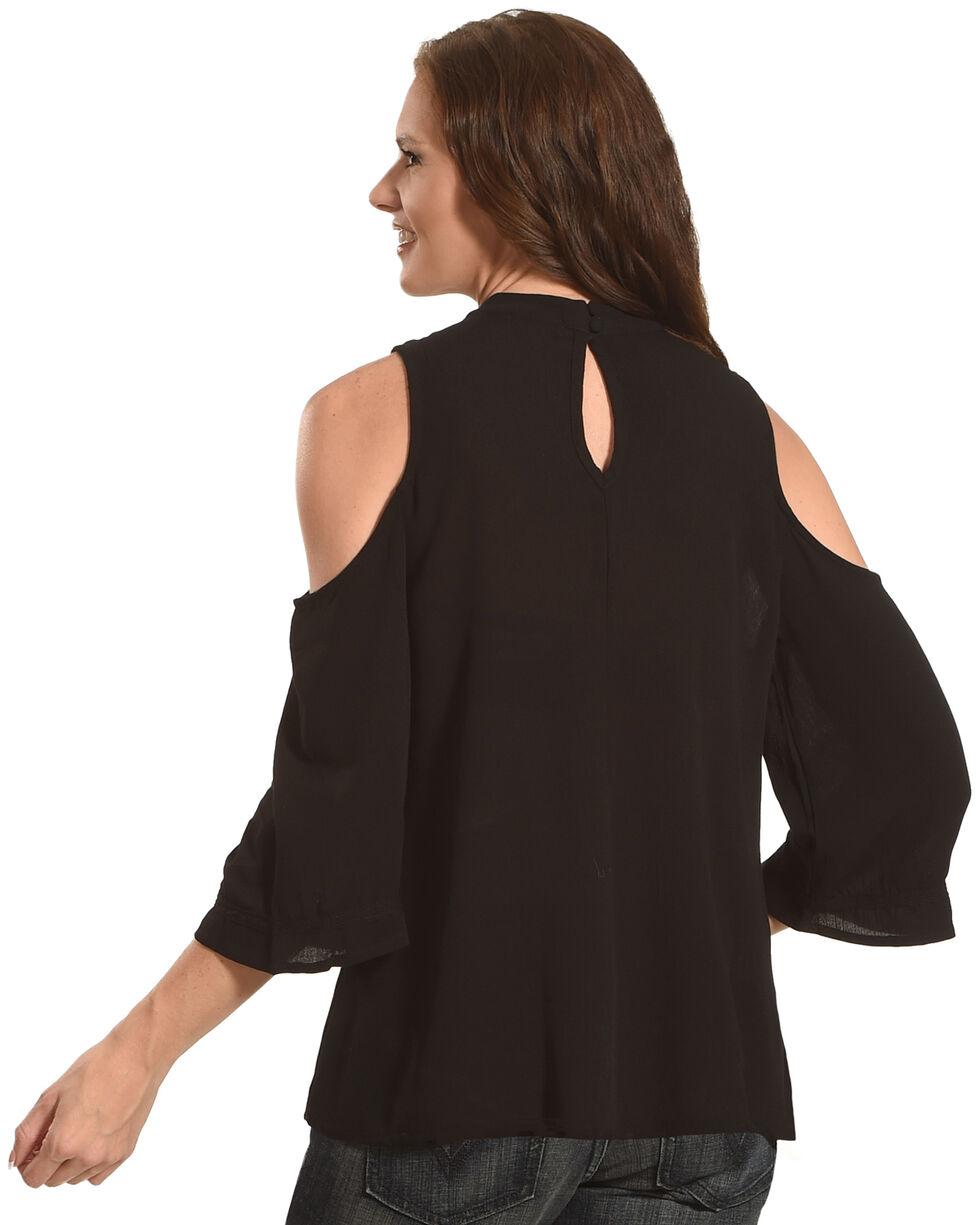 Eyeshadow Women's Floral High Neckline Cold Shoulder Long Sleeve Top, Black, hi-res