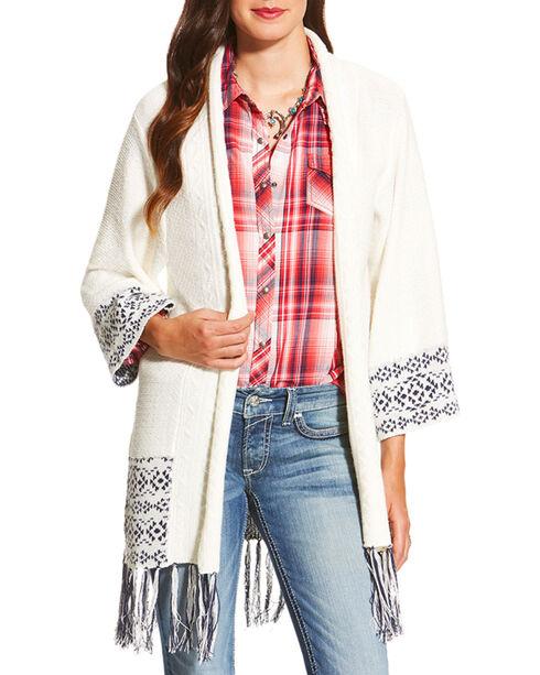 Ariat Women's White Pondera Aztec Sweater Cardigan , White, hi-res