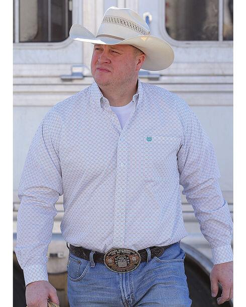 Cinch Men's Classic Fit White Printed Plain Weave Long Sleeve Button Down Shirt, White, hi-res