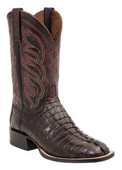 Lucchese 1883 Landon Hornback Caiman Tail Cowboy Boots - Square Toe, , hi-res