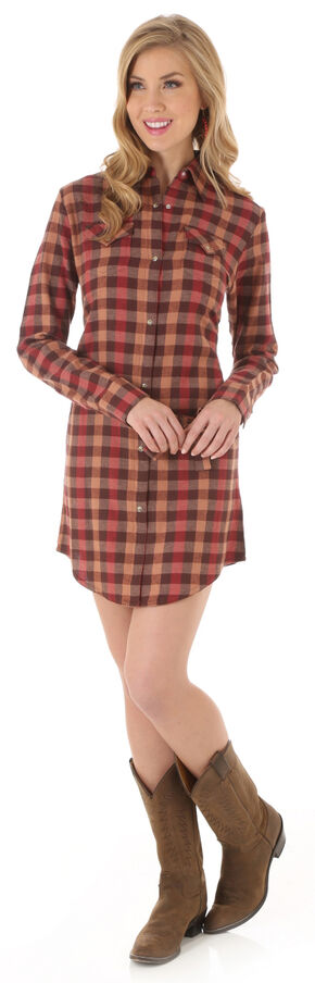 Wrangler Women's Rust Plaid Shirt Dress, Brown, hi-res