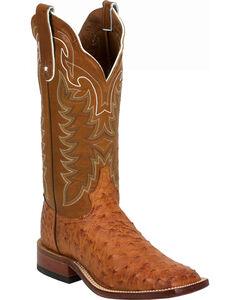 Tony Lama Vintage Full Quill Ostrich Cowboy Boots - Wide Square Toe, Cognac, hi-res