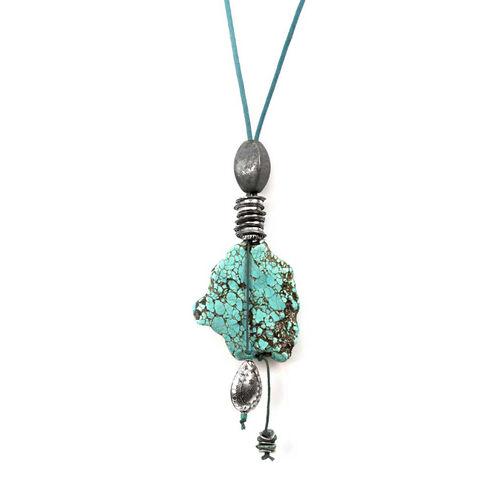 Treska Turquoise Long Pendant on Cord Necklace, Turquoise, hi-res