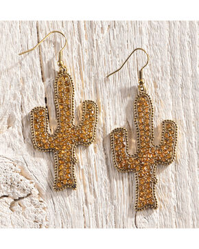 Shyanne Women's Adilene Shimmer Cactus Earrings, Gold, hi-res