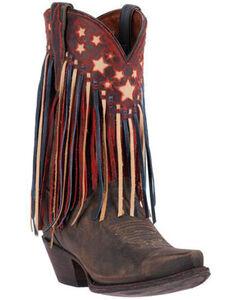 Dan Post Brown Liberty Fringe Cowgirl Boots - Snip Toe , , hi-res