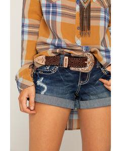 Shyanne Women's Brown Leather Embellished Belt, , hi-res