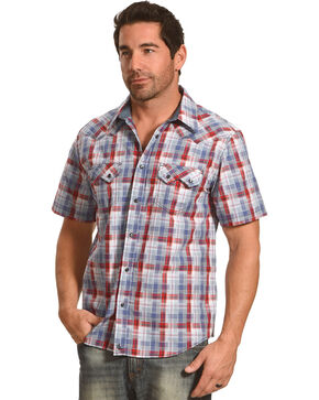 Cody James Men's Sidewinder Western Plaid Short Sleeve Shirt, Grey, hi-res