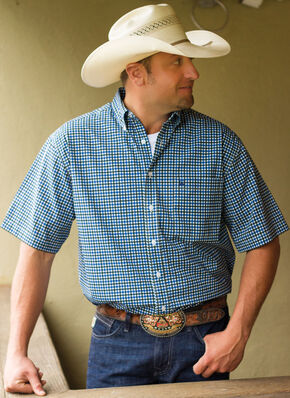 Cinch Men's White Tri-Blend One Pocket Short Sleeve Plaid Shirt, White, hi-res