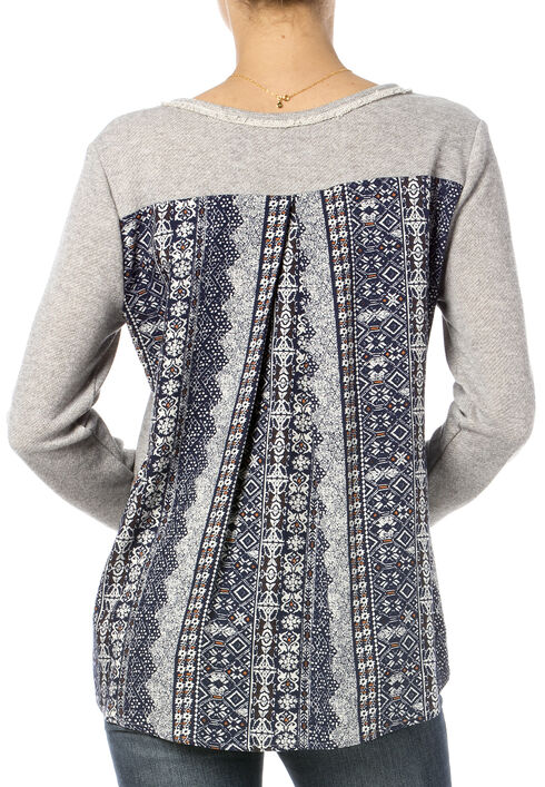 Miss Me Printed Chiffon Back Embroidered Sweater, Hthr Grey, hi-res