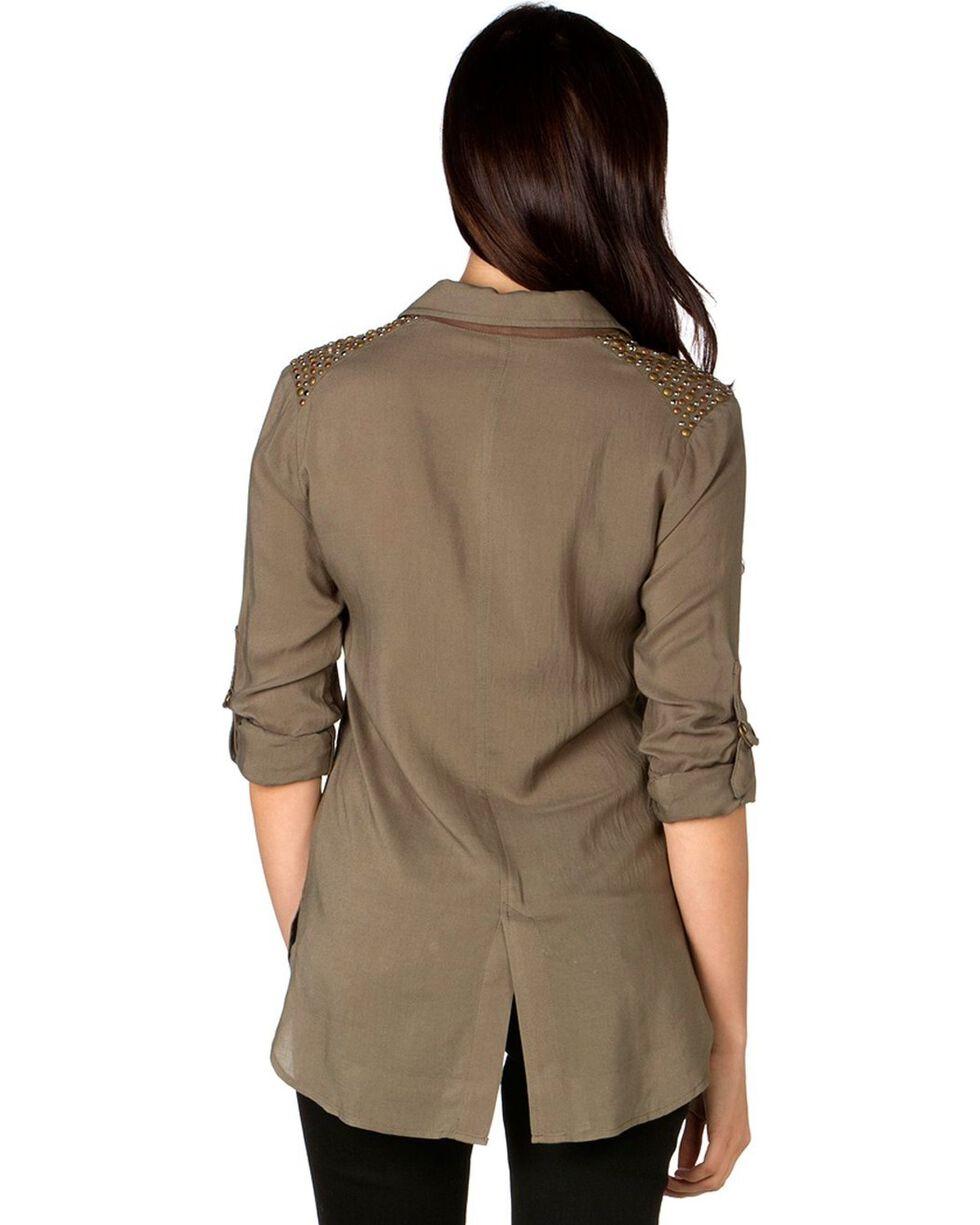 Miss Me Women's Olive Green Shoulder Embellished Woven Top, Olive Green, hi-res