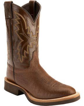 Justin Antique Brown Smooth Ostrich Tek Crepe Cowboy Boots - Round Toe, Antique Brown, hi-res