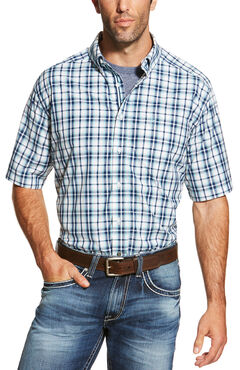Ariat Men's Blue Nawton Short Sleeve Shirt , , hi-res
