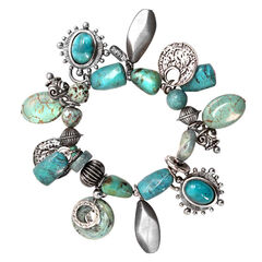 Treska Mykonos Stretch Multi-Dangle Bracelet , Turquoise, hi-res