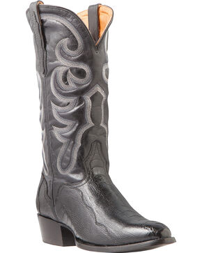 El Dorado Men's Ostrich Leg Black Western Boots - Medium Toe, Black, hi-res