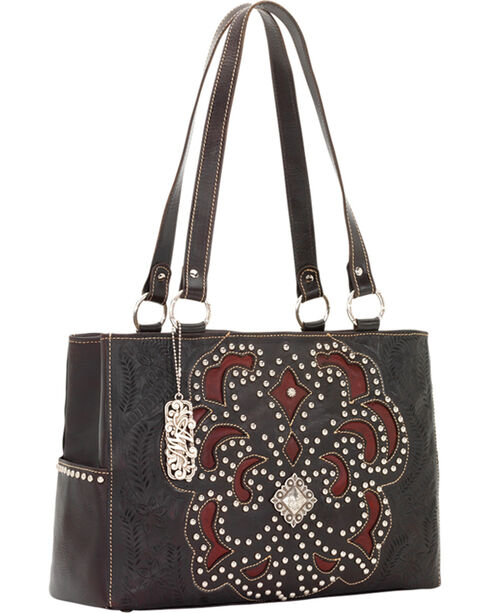 American West Women's Mayflower Leather 3-Compartment Handbag, , hi-res