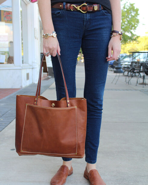 SouthLife Supply Women's Buffalo Brown Unstructured Tote, Lt Brown, hi-res