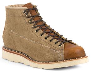 Chippewa Men's Reverse Suede Utility Bridgemen Boots - Round Toe, Khaki, hi-res