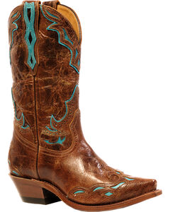 Boulet Puma Madera West Turqueza Inlay Cowgirl Boots - Snip Toe, , hi-res