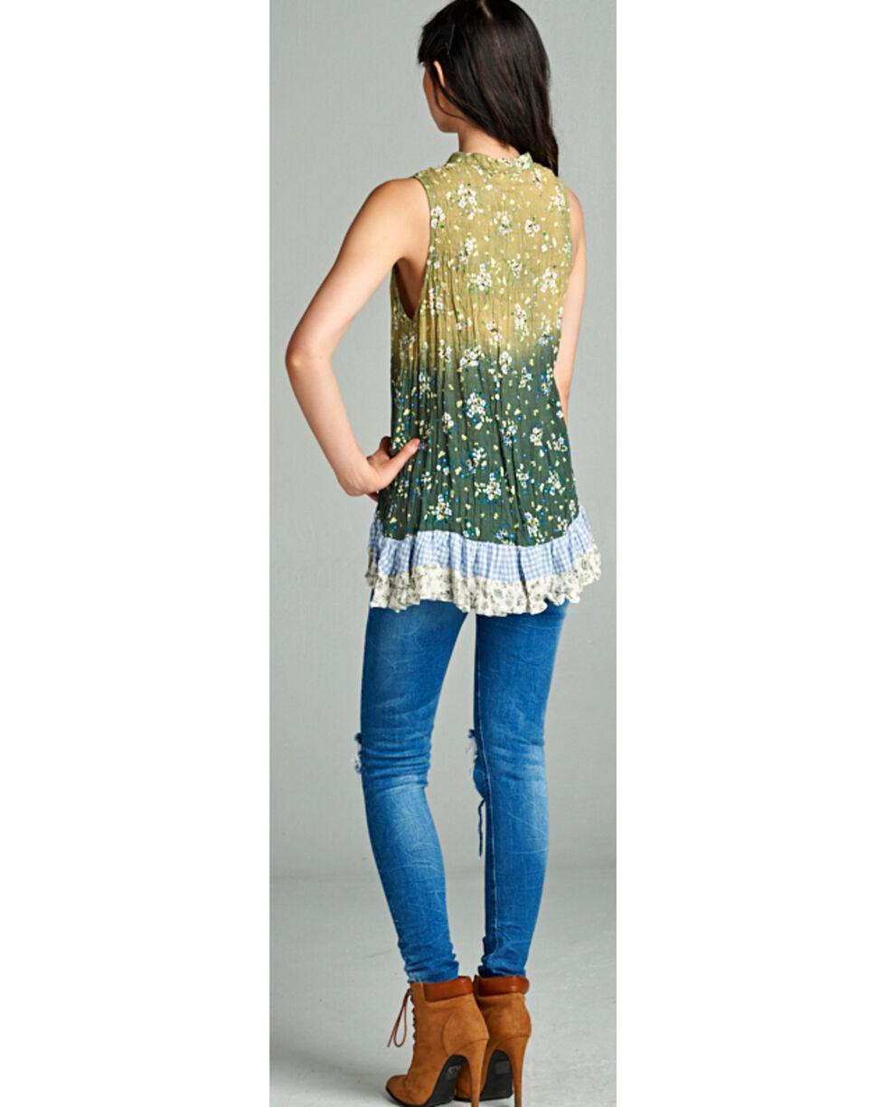 Hyku Women's Ombre Print Sleeveless Top, Green, hi-res